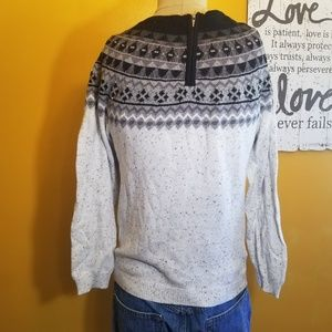 Christopher & Banks Sweaters - Christopher & Banks gray beaded zip back sweater